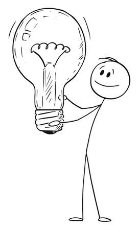 Idea, Man or Businessman Holding Light Bulb. Vector Cartoon Stick Figure Illustration