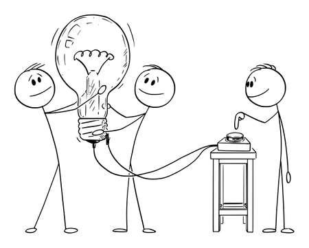 Teamwork and Creativity. Vector Cartoon Stick Figure Illustration