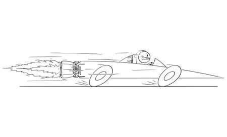 Man or Businessman Driving Superfast Rocket Car, Vector Cartoon Stick Figure Illustration
