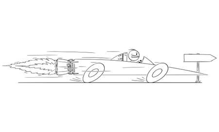 Man or Businessman Driving Superfast Rocket Car, Vector Cartoon Stick Figure Illustration Banco de Imagens - 165996795