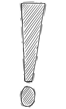 Exclamation Mark or Point Symbol. Concept of Danger or Warning. Hand Drawing and Illustration Çizim