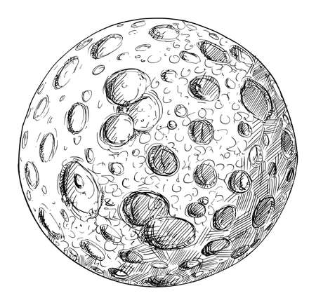 Planet or Planetary Moon Full of Impact Craters.Hand Drawing and Illustration