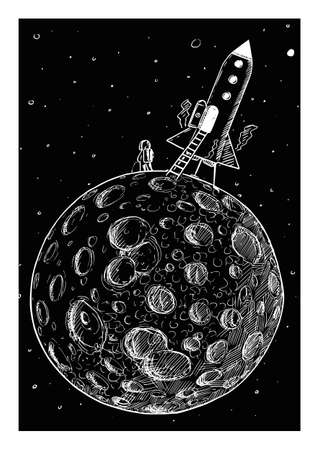 Astronaut From Space Rocket Urinating on Planetary Moon. Hand Drawing and Illustration