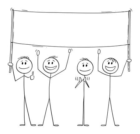 Group of People Holding Empty Sign and Celebrating , Vector Cartoon Stick Figure Illustration