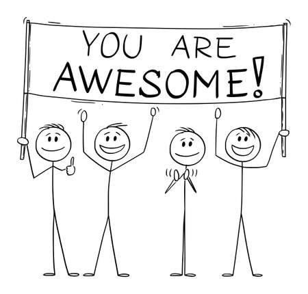 Group of People Holding You Are Awesome Sign, Vector Cartoon Stick Figure Illustration Stok Fotoğraf - 165996799