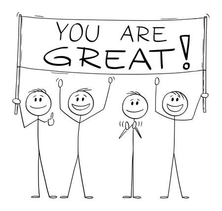Group of People Holding You Are Great Sign, Vector Cartoon Stick Figure Illustration Stok Fotoğraf - 165996251