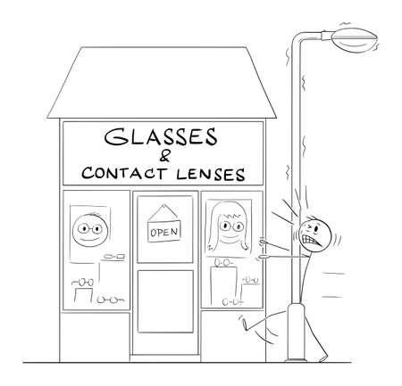 Poorly Seeing Man Hit the Streetlight in Front of Glasses and Contact Lenses Shop. Humor in Vector Cartoon Stick Figure Illustration