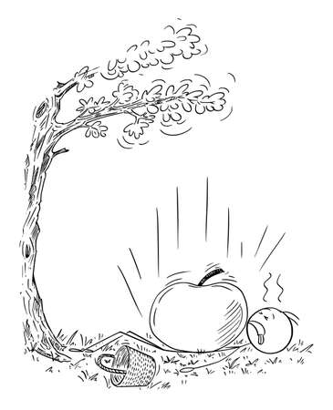 Farmer, Fruit Picker or Gardener Was Hit by Giant Apple Falling From Tree. Vector Cartoon Stick Figure Illustration