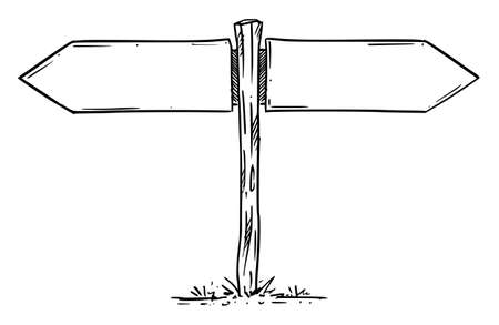 Empty Wooden Direction Sign, Left and Right Arrow. Hand Drawing and Illustration Stok Fotoğraf - 165996261