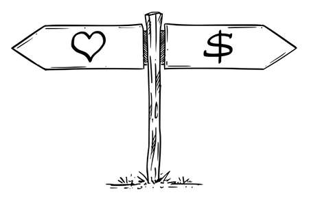 Choose Love or Money, Profit or Emotion. Hand Drawing and Illustration Stok Fotoğraf - 165996262