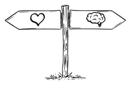 Choose Love or Brain, Logic or Emotion. Hand Drawing and Illustration