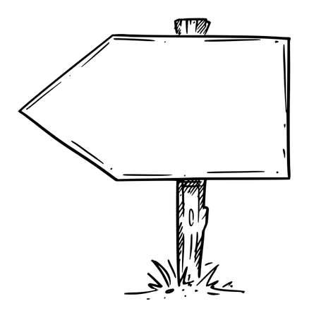 Empty Wooden Direction Arrow Sign. Hand Drawing and Illustration