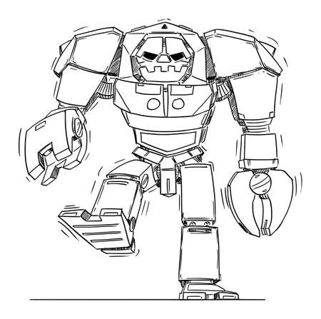 Big Evil Robot Walking. Front View. Sci-fi Technology Concept Art Design. Hand Drawing and Illustration
