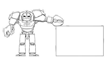 Big Robot Holding Empty Sign. Technology or Marketing Concept. Hand Drawing and Illustration