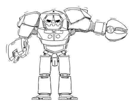 Big Robot Pointing at Something. Technology and Marketing. Hand Drawing and Illustration