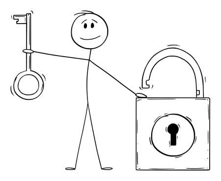 Man Holding Key and Lock, Security Concept, Vector Cartoon Stick Figure Illustration