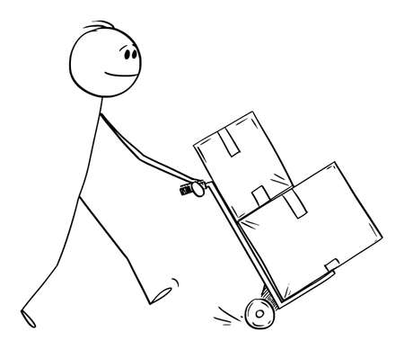 Man Pushing Hand Truck, Concept of Delivery, Logistic or Moving. Vector Cartoon Stick Figure Illustration