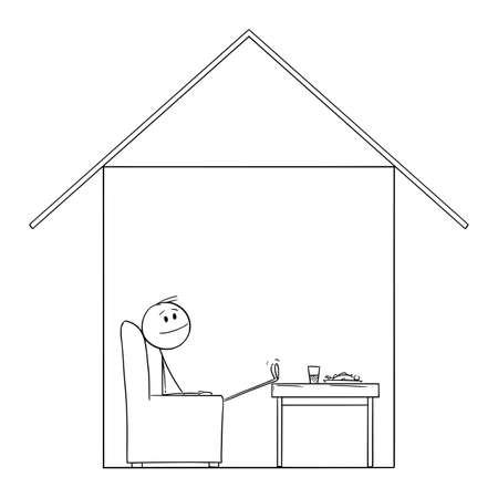 Man Enjoying to Be in Home in His House, Vector Cartoon Stick Figure Illustration