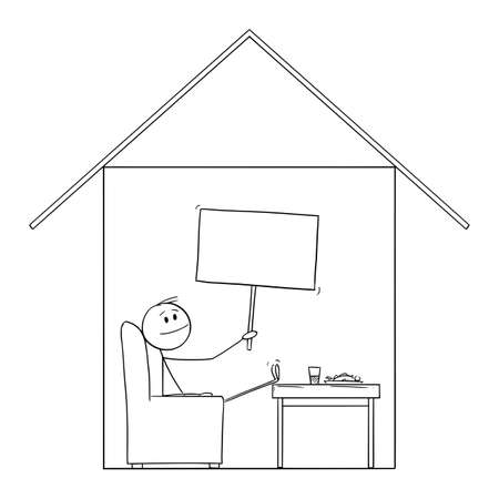Man Enjoying to Be in Home in His House, Holding Empty Sign, Vector Cartoon Stick Figure Illustration Banco de Imagens - 166544534
