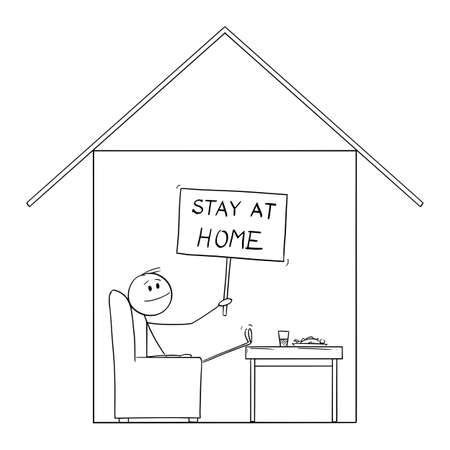 Man Sitting in His House Holding Stay at Home Sign, Safe during Coronavirus epidemic, Vector Cartoon Stick Figure Illustration