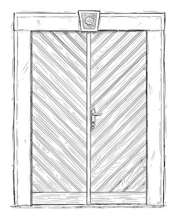 Old Wooden Door or Gate. Vector Drawing or Illustration