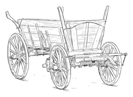 Old Wooden Wagon. Vector Drawing or Illustration