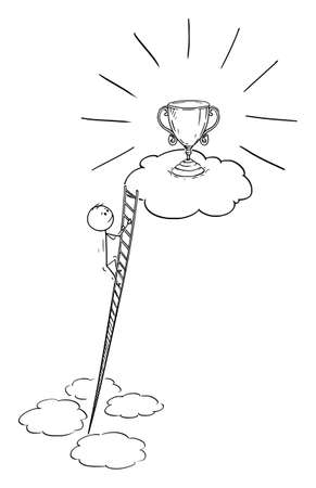 Man Climbing Ladder to Earn Victory, Career or Success , Vector Cartoon Stick Figure Illustration