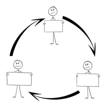 Scheme of Team or Teamwork Cooperation, Workers With Signs, Arrows in Circle, Vector Cartoon Stick Figure Illustration