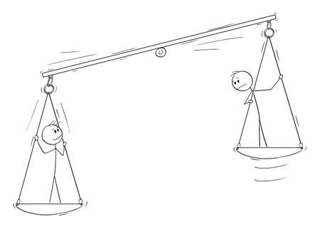 Two Persons on Balance Scale, Employee Potential, Human Rights, Vector Cartoon Stick Figure Illustration