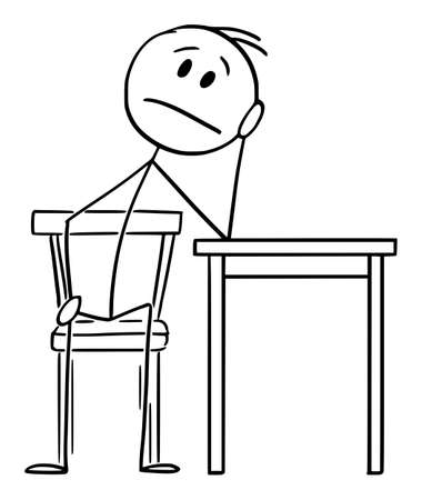 Tired or Depressed Man Sitting at Home on Chair and Thinking, Vector Cartoon Stick Figure Illustration Ilustração