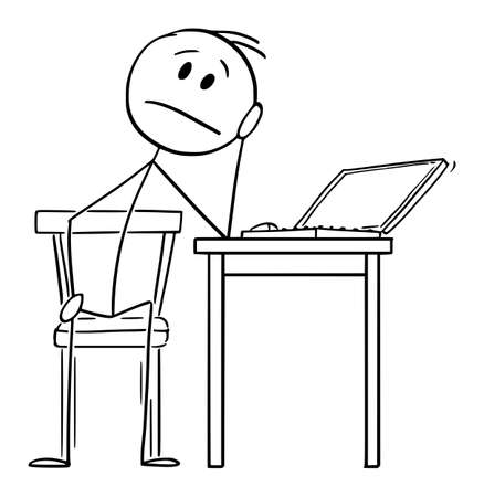 Tired or Sad Man Working on Computer at Home During Quarantine, Home Office , Vector Cartoon Stick Figure Illustration