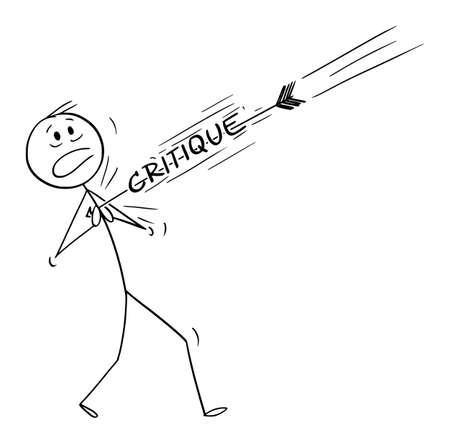 Artist, Novelist, Writer or Author Hit by Critique, Vector Cartoon Stick Figure Illustration Ilustração
