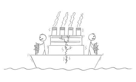 Two Ship Captains or Steersmen Are Steering Ship in Opposite Directions, Boat is Cracking. Vector Cartoon Stick Figure Illustration Ilustração