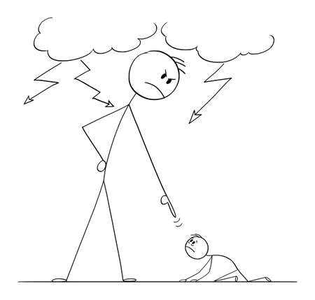 Man Oppressing Another Man Using His Power, Vector Cartoon Stick Figure Illustration