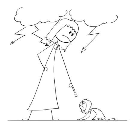 Woman Oppressing Another Woman Using His Power, Vector Cartoon Stick Figure Illustration Banco de Imagens - 166731751