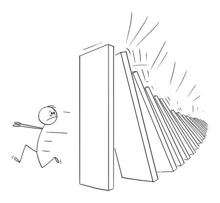 Man Running Away From Falling Domino Peaces, Domino Effect, Vector Cartoon Stick Figure Illustration