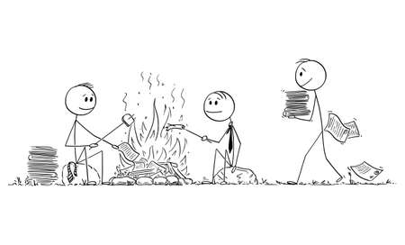 Group of Office Workers or Businessmen Roasting Sausages on Campfire, Burning Papers , Vector Cartoon Stick Figure Illustration Illusztráció