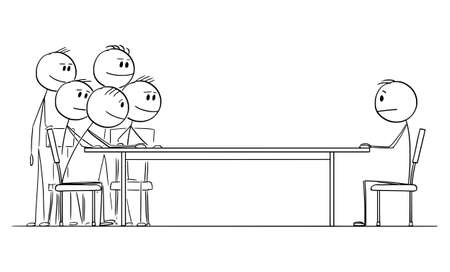 Negotiation or Job Interview, One Man Sitting at Table Against Group of Businessmen, Vector Cartoon Stick Figure Illustration