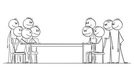 Two Group of People or Businessmen or Politicians Negotiating, Vector Cartoon Stick Figure Illustration