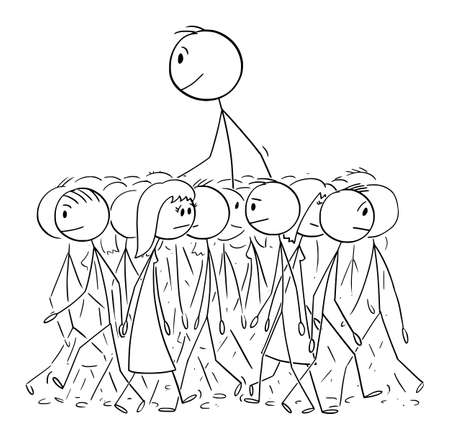 Big Man Walking in Average Crowd, Individuality and Distinctiveness, Vector Cartoon Stick Figure Illustration