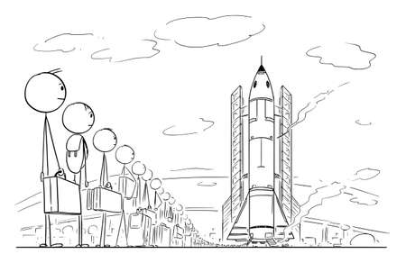 Line of People Waiting for Spaceflight, Space Ship Launch. Vector Cartoon Stick Figure Illustration 向量圖像