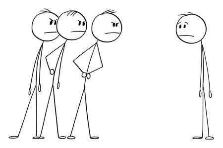 Three Men Looking Angrily or Angry at One Man. Vector Cartoon Stick Figure Illustration Vektorgrafik