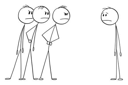 Three Men Looking Angrily or Angry at One Man. Vector Cartoon Stick Figure Illustration