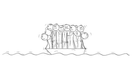 Big Group of People or Businessmen Standing Helplessly on Small Lifeboat. Vector Cartoon Stick Figure Illustration
