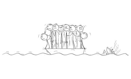 Group of People or Businessmen Standing Helplessly on Small Lifeboat, Ocean Ship is Sinking on Background. Vector Cartoon Stick Figure Illustration