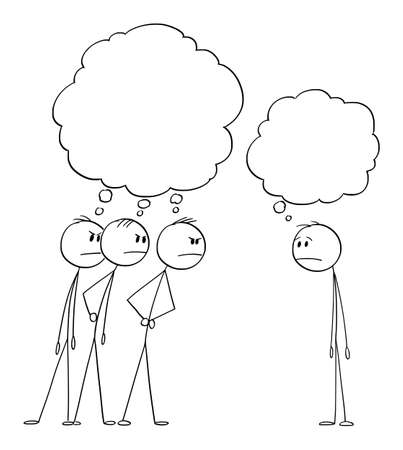 Three Men Looking Angrily or Angry at One Man. Empty Thought Bubbles. Vector Cartoon Stick Figure Illustration
