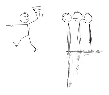 Leader Leading Team to Success on Impossible Way, Vector Cartoon Stick Figure Illustration