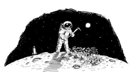 Astronaut Farming on Moon, Mars or Distant Planet, Food Production in Space, Vector Cartoon Stick Figure Illustration