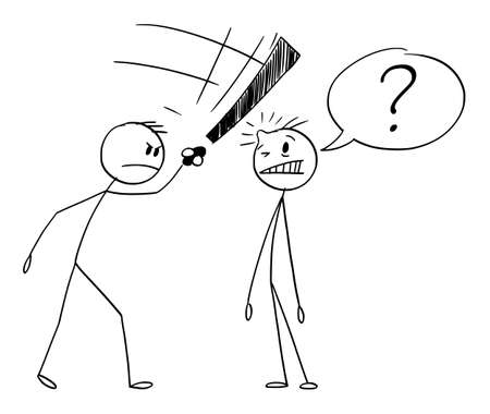 Man Asking Question, Another Man Beating Him by Exclamation Mark, Vector Cartoon Stick Figure Illustration