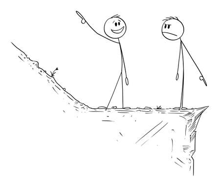 Optimism and Pessimism, Optimist and Pessimist, Way Up and Down, Vector Cartoon Stick Figure Illustration